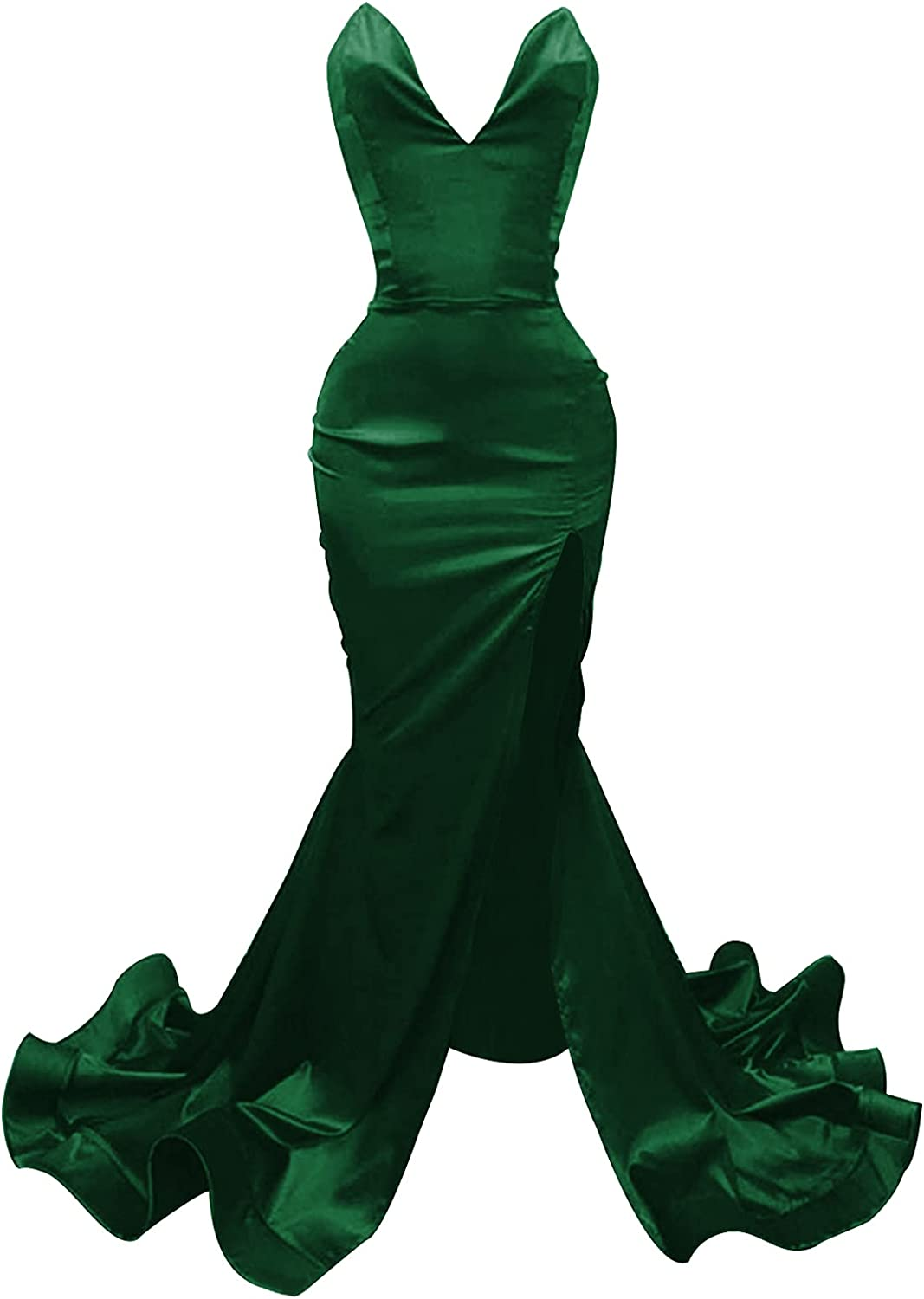 Prom Dress Mermaid Formal Evening Gowns with Split Satin Evening Dresses Strapless Prom Dresses