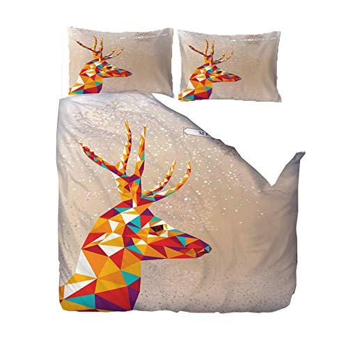 YJRXSS 3D print duvet cover Super King/220x260cm/86.5x102 inchesAnimal deer geometry Duvet Cover With 2 Pillowcases 3D Printed Bedding Set With Zipper Closure Soft Microfiber Double Duvet Cover Set