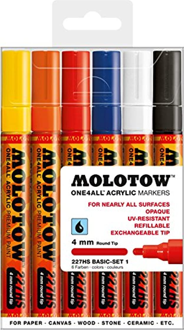 Molotow ONE4ALL Acrylic Paint Marker Set, 6 Basic Colors #1, 4mm (200.453)