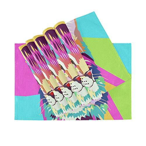 Set de 6 Sets de Table, Sets de Table lavables à Isolation Thermique, Pop Art Portrait Chat 18 X 12 Pouces napperons de Table de Cuisine pour Table à