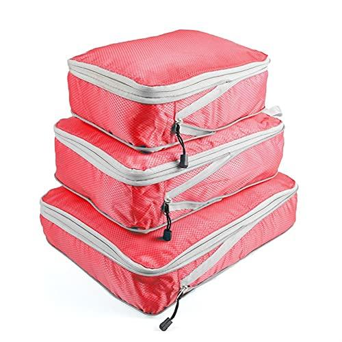 TYLC Bolsa de Almacenamiento de Viaje Maleta Organizador de Equipaje de compresión Conjunto de compresión Colgante  Ropa Ropa Interior Zapatos (Color : 3PCS Red)