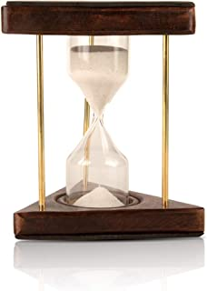 "4-6 Minute Hourglass Sand Timer Clock With Sparkling White Sand 6"" Wooden & Brass Vintage Antique Style Nautical Collectors Gift Decorative Souvenir Unique Creative Gifts For Home Office Study Desk"