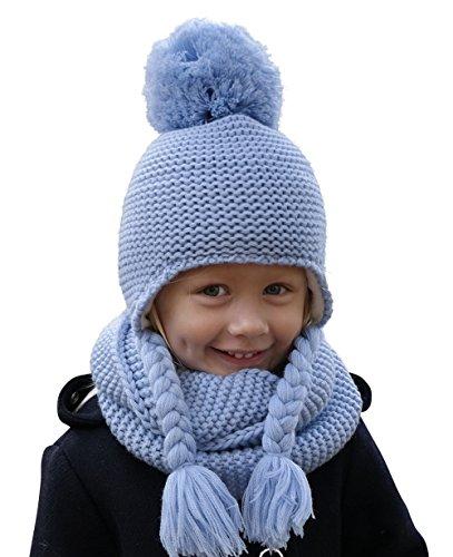 Hilltop 100% algodón: Conjunto de invierno para niños conjunto de bufanda redonda y gorro con orejeras a juego. Para niños con edades de 1, 1/2 a 3 años de edad, 1D-azul bebé