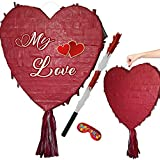 Piñata de corazón para boda, compromiso o fiesta de cumpleaños.