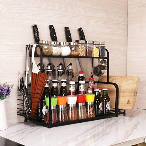 XGQ Multifunción 50cm Capas de la Cocina Estante Doble condimento de Almacenamiento (Negro) (Color : Black)