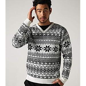 [アズールバイマウジー] セーター 【MEN'S】ノルディック柄Vネックニットプルオーバー 251CSM70-034I L ホワイト メンズ