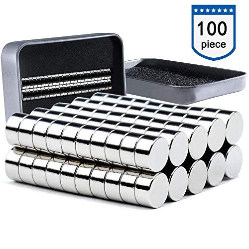 Neodym Magnete 100 Stück, 6x3mm Versatile Kühlschrank Mini Magnete N52 Ultra Stark Runde Neodym-Magnete für Magnettafel, Whiteboard, Kühlschrank, Handwerk, Wissenschaft - mit Aufbewahrungsbox