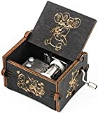 SIQI Winnie the Pooh 18 Note Hand Crank Wood Music Box Antique Carved Musical Boxes Gifts Collections Home Office Decoration for Halloween Christmas Birthday Anniversary, Plays Winnie the Pooh(Black)
