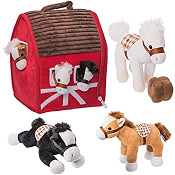 Prextex Plush Farm House with Soft and Cuddly 5  Plush Horses Farm Boy and Farm House Barn House Carry Along Case