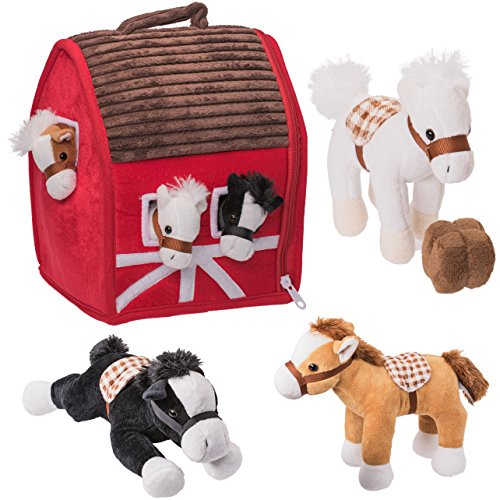 Prextex Plush Farm House with Soft and Cuddly 5' Plush Horses, Farm Boy, and Farm House Barn House Carry Along Case