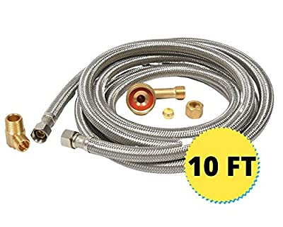 """Dishwasher Hose Stainless Steel Braided Supply Line Kit (10 foot) - 3/8"""" comp x 3/8"""" comp with attached 90 degree 3/8"""" comp x 3/8"""" MIP elbow - includes 90 degree 3/8"""" comp x 3/4"""" FGH"""