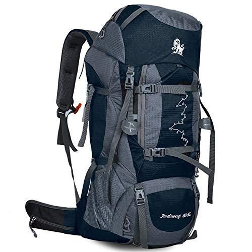 Mochila extragrande para montañismo, ruck de trekking con marco interno, multifunción extraíble impermeable, para turismo, aventura, supervivencia en una isla desierta, unisex, 80 + 5L,Blue(Dark)