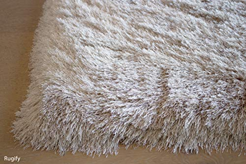 LA Shag Shaggy Fluffy Large Furry Rectangular Solid Patterned Plush Fur Large Fuzzy Floor Soft Plain Modern Pile 5-Feet-by-7-Feet Polyester Made Area Rug Carpet Rug Beige Color
