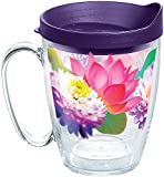 Tervis 1286280 Floral Filter Tumbler with Wrap and Royal Purple Lid 16oz Mug, Clear