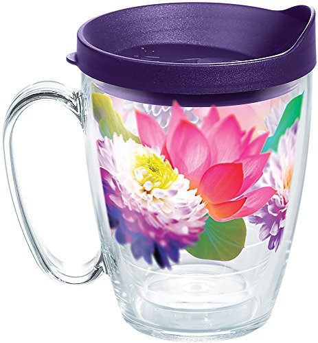 Tervis Floral Filter Tumbler with Wrap and Royal Purple Lid 16oz Mug, Clear