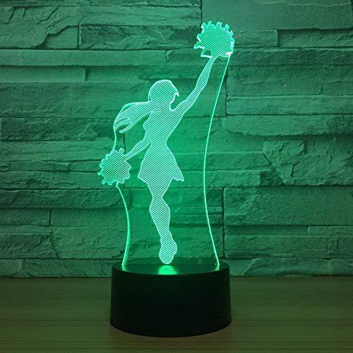 Anierleader Girl - Lámpara LED 3D de 7 colores, lámpara de escritorio visual, decoración del hogar, regalo