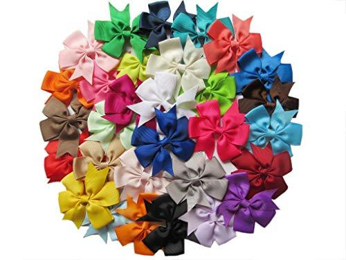 YYCRAFT Lot de 30 nœuds en ruban gros grain pour cheveux de bébé décoratifs faits à la main (8,9 cm de couleurs mélangées sans clips)