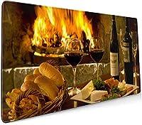 美味しいワインと美味しい料理 大型ゲーミングマウスパッド光学式マウス対応滑り止め防水耐久性 キーボードパッド オフィス 900 X 400