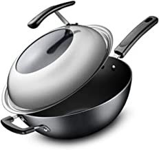 PENFU Pans Wok, 32CM Cast Iron Pot, Stainless Wok, Uncoated Wok, Induction Cooker Wok Cooking pot, (Color : Black, Size : ...