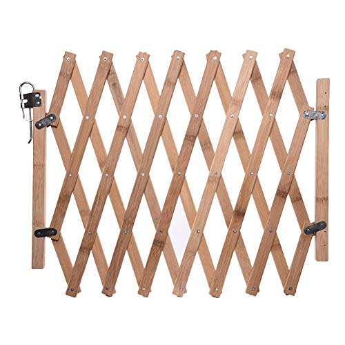 lembrd Pet Gate Wooden Picket Fence, Garden Panels Wooden Dog Folding Gate Expanding Panel, Fold-able Indoor Outdoor Free Standing Safety Gate Portable Separation Pet Safety Barrier Guard