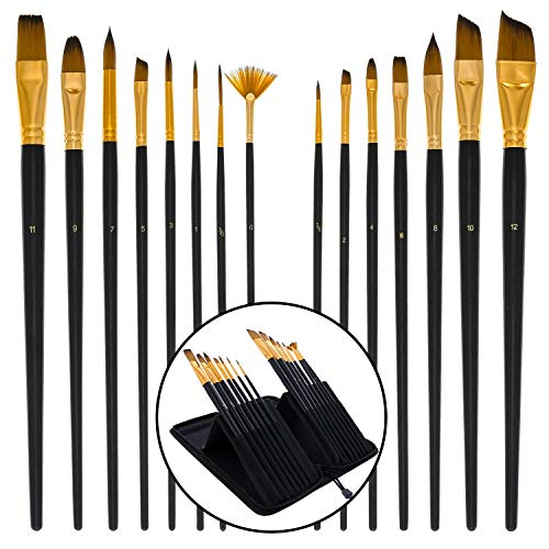 U.S. Art Supply 15 Piece Artist Long Handle Synthetic Paint Brush Set - Multi Functional Watercolor Gouache Oil Acrylic Brush Set in Zippered Nylon Pop-Up Travel Storage Case