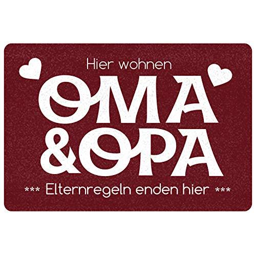 """Geschenke 24 Fußmatte """"Oma und Opa - Elternregeln Enden Hier"""" (Rot, ohne Namen) - Schmutzfangmatte mit Spruch und Namen - Geschenkidee für Großeltern"""