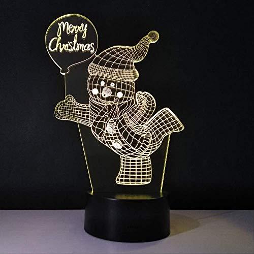 DFDLNL Figuras navideñas Luz de Noche Muñeco de Nieve Lámpara de Noche Colores 3D Luminaria Noel Decoración Brillante Navidad Lampar Regalos de año para niños