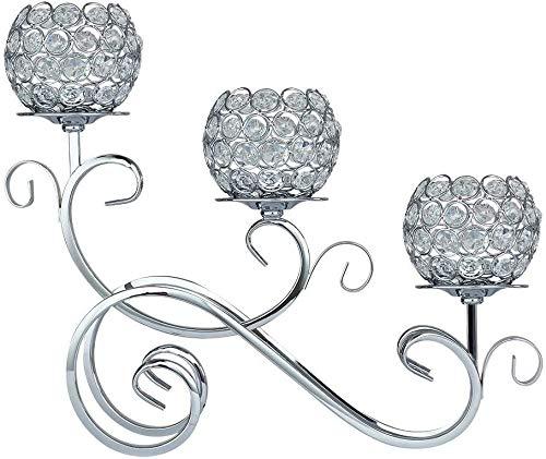 Portavelas de metal de 3 brazos de plata de cristal candelabros brillantes candelabros de boda centros de mesa de comedor Decoración del hogar Accesorios de mesa