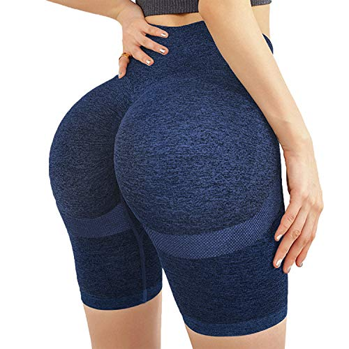 High Waisted Yoga Shorts for Women Tummy Control Leggings Butt Lifting Textured Workout Shorts Navy