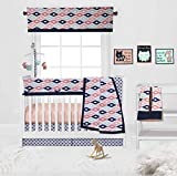 Bacati Aztec/Tribal 10-Piece Nursery-in-a-Bag Crib Bedding Set with Long Rail Guard, 100 Percent Cotton Percale for US Standard Cribs (Emma Coral/Mint/Navy)