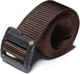 CQR Tactical Belt, Military Style Heavy Duty Belt, Nylon Webbing EDC Quick-Release Buckle, Plastic Flip Tab(mzt01) - Brown, XL[w40-42]