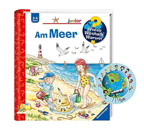 Buchspielbox Varför Weshalb? Varum? junior: Vid havet (band 17) världskarta klistermärke   klaff barnbok från 2 år
