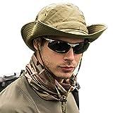 WANYIG UPF 50 + Sonnenhut Herren UV Schutz Fischerhut Safari Hut Faltbar Sommer Wasserdicht Outdoor BuschhutWanderhut Gartenhut Boonie Hut(Armeegrün)