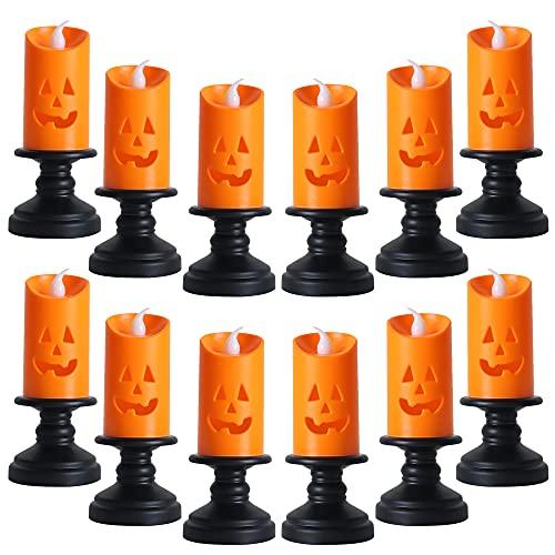 12 luces LED coloridas de calabaza sin llama, candelabro parpadeante lámparas decorativas operadas para decoración de fiestas de...