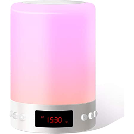 Luces Nocturnas Altavoz Bluetooth, Swonuk Luz Nocturna Portátil Lámpara de Mesa LED con Radio FM Reloj Despertador Lámpara de Noche Regulable