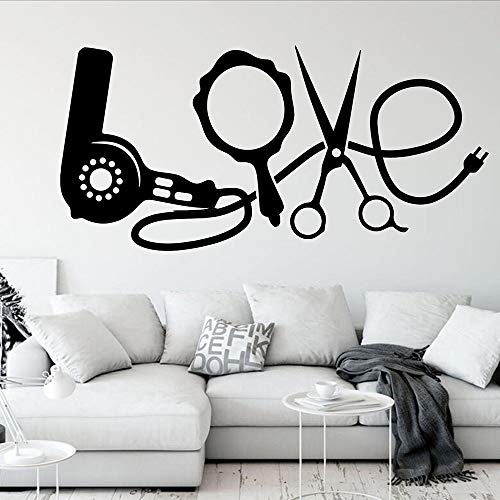 WERWN Liefde woord muurstickers föhn mode kapsalon kapperszaak interieur deuren en ramen vinyl stickers kunst muurschilderingen