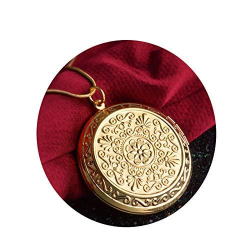 AmDxD Foto Amulett zum öffnen mit Kette Runde Blume Damen Herren Hlaksette mit Anhänger Gold