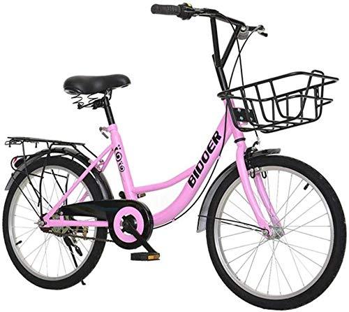Bike 20 Zoll Rad im Freien Spielraum Kinder Freestyle Mit Frontkorb Straßen-Fahrrad Männer Frauen Stadt-Pendler-Fahrrad, ideal for die Straße oder Schmutz Trail Touring (Color : Pink)