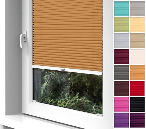 Home-Vision® Premium Plissee zum Anschrauben in der Glasleiste Innenrahmen (Orange, B75cm x H100cm) Blickdicht Plissee Jalousie mit Halterungen zum Bohren, Sonnenschutzrollo Rollo