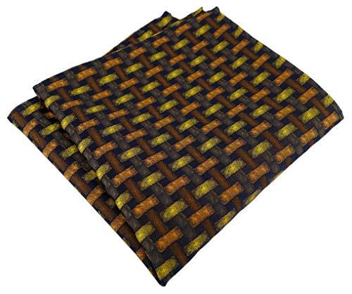 TigerTie Designer Einstecktuch in orange gelb braun schwarz - Motiv Flechtmuster - Stecktuchgröße 30 x 30 cm
