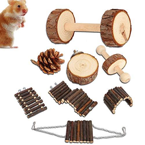 8pcs Pequeñas Mascotas Juguetes Para Masticar Pino Natural Unicycle de Madera Rodillo Ejercicio Mancuerna Cuidado de Los Dientes Juguete Molar para Hamster Conejillo de Indias Chinchilla Conejos