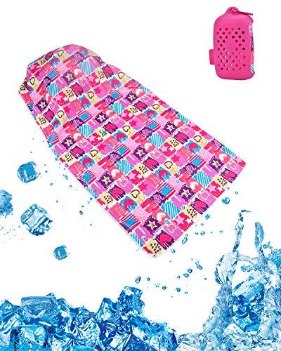 LiDiwee クールタオル 速乾タオル 冷却 超吸水 首冷やす 熱中症対策 100×30cm 2色 収納ケース付き 3層生地構造 無添加 (ピンク)