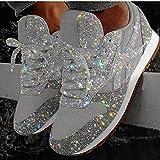 ZBRO Women's Muffin Rhinestone New Crystal Platform Sneakers, Sparkly Sneakers Metallic Glitter Sneakers for Women, Fashion Sneakers Women Bling Bling Shoes, Bling Wedge Platform Sneaker (Silver, 9)