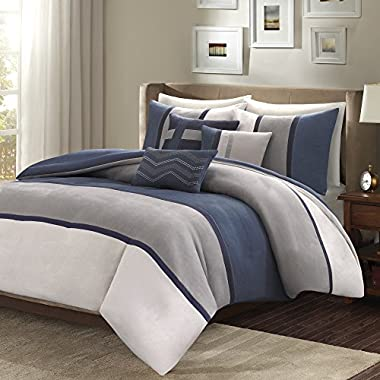 Madison Park Palisades Duvet Cover Full/Queen Size - Navy, Grey, Pieced Stripe Duvet Cover Set – 6 Piece – Micro Suede Light Weight Bed Comforter Covers