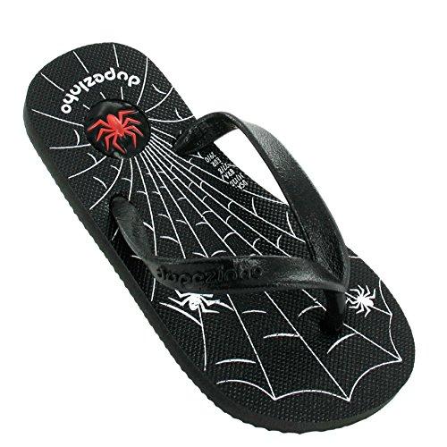 Dupé Kids Spider in schwarz mit silbernem Spinnennetz, Dupe Zehentrenner, Gummi, Brasilien Sale! Dupe (25 EU, schwarz)