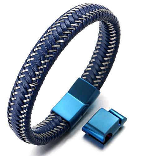 Halukakah ● Jazz ● Herren-Armband Handgefertigt | Echtleder Blau | Magnetverschluss Edelstahl Blau | KOSTENLOS Geschenkbox | Tolle Geschenkidee | Größe Einstellbar 21.5cm-23cm Groß