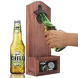 Flaschenöffner Wandmontage, KNMY Wandflaschenöffner mit Auffangbehälter, Hölzerne...