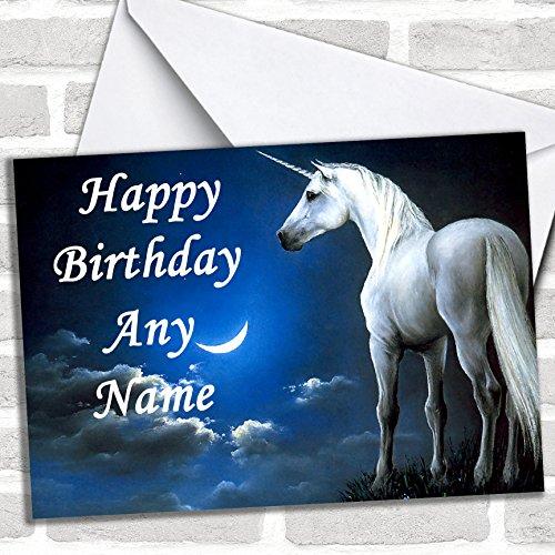 Eenhoorn & Maan verjaardagskaart met envelop, kan volledig gepersonaliseerd worden, snel en gratis verzonden
