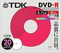 TDK 日本製 DVD-R 16倍速 インクジェットプリンタ対応(ホワイト) 5mmケース入り 20枚 DR47PWC20S