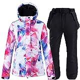 SKI Trajes de esquí de Invierno para Mujer Chaquetas de Snowboard Impermeables a Prueba de Viento Insulatd Conjunto de Pantalones y Chaquetas de Deportes de Colores Impresos,Negro,S